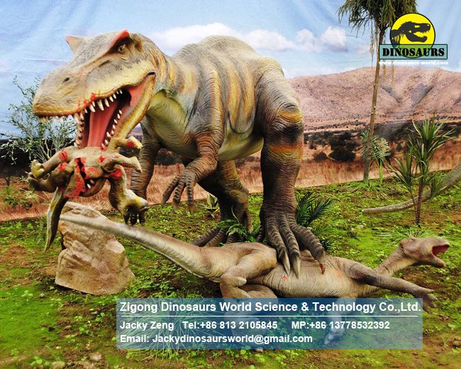 Artificial dinosaur baryonyx attack iguanodon and raptor DWD1508